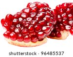 Ripe grains pomegranate isolated on white background - stock photo