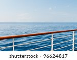 Looking at the sea from the deck of a cruise ship - stock photo