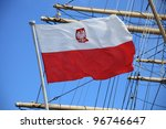 Flag of Poland on blue sky ship outdoor - stock photo