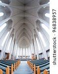 interior of modern Hallgrimskirkja church, Reykjavik, Iceland - stock photo