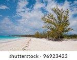 White sand beach on a Caribbean island, Bahamas - stock photo