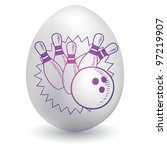 Doodle style bowling pins and ball sketch on decorated holiday Easter Egg in vector format - stock vector