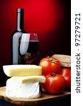 red wine,bread,tomato,cheese - stock photo