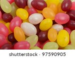 Jelly Beans - Coulorful bean shaped sweets close-up. - stock photo