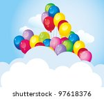 flying in the sky bright colorful balloons with a cloud - stock photo