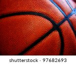 Closeup of texture on old worn leather basketball - stock photo