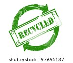 Green Recycled stamp print with grunge effect - recycle concept - stock photo
