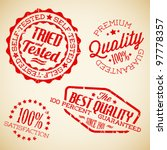 Vector retro red vintage stamps for quality - stock vector