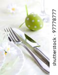 Restaurant menu series. Easter table setting with flowers and decoration - stock photo