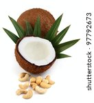 Coconut with cashew - stock photo