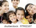 Group of happy children - stock photo