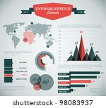 teal and red Vector  retro / vintage set of Infographic elements for your documents and reports - stock vector