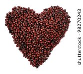 Pile of red beans in heart shape isolated on a white background, selective focus. - stock photo