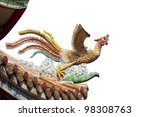 Chinese phoenix sculpture isolated - stock photo