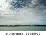 sea scape from boat from southampton traveling down to the Isle of white - stock photo