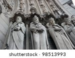 Notre Dame Cathedral Statues of Kings at the entrance - stock photo