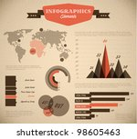 Brown and red Vector  retro / vintage set of Infographic elements for your documents and reports - stock vector