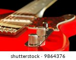 vintage electric guitar close-up - stock photo