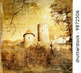 medieval castle - toned picture in retro style (more castles in my gallery) - stock photo