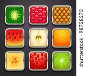 background for the app icons-fruits part - stock vector