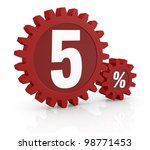 one percent icon made with two red cogwheels and the number 5 - stock photo