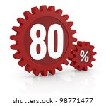 one percent icon made with two red cogwheels and the number 80 - stock photo