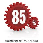 one percent icon made with two red cogwheels and the number 85 - stock photo