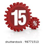 one percent icon made with two red cogwheels and the number 15 - stock photo