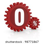 one percent icon made with two red cogwheels and the number 0 - stock photo