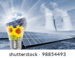 The collage with energy industries theme. Environmental protection concept. - stock photo