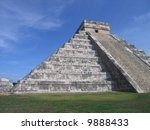 This is the famous pyramid in Chitzen Itza showing the shadow of the spring equinox. - stock photo