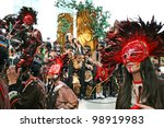 LIMASSOL, CYPRUS - MARCH 6, 2011: Unidentified participants  during the carnival parade, established in 16th century, influenced by Venetian and Greek traditions. - stock photo