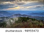 Blue Ridge Parkway Southern Appalachians Smoky Mountains Scenic NC Landscape Vacation Destination North Carolina - stock photo