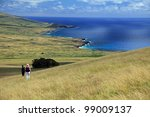 Hiking the ancient volcano on Ester Island in the South Pacific - stock photo