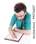 male doctor writing on clipboard sitting at desk, white background - stock photo