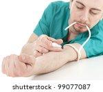 drug addict medical doctor man with syringe in action, white background - stock photo