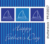 """Yacht """"Happy Father's Day"""" card in vector format. - stock vector"""