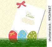 Easter card with eggs and paper - stock vector