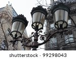 Closeup of a vintage Street light in Paris, France - stock photo