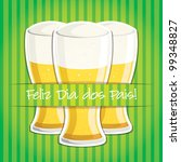 """Portuguese """"Happy Father's Day"""" beer card in vector format. - stock vector"""