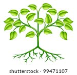 A green stylised tree design element symbolising growth, nature or the environment - stock photo