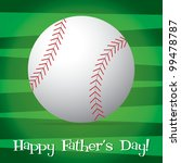 Bright baseball Happy Father's Day card in vector format. - stock vector