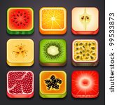 background for the app icons-fruits part-2 - stock vector