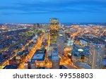 Aerial view of downtown Boston, Massachusetts, USA. - stock photo