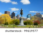 Equestrian George Washington Monument at Public Garden in Boston, Massachusetts. - stock photo