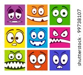 Set of funny colorful emotions. - stock vector