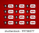 Set of discount numbers with funny monster. - stock vector