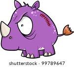 Crazy Insane Rhinoceros Animal Safari Vector Illustration - stock vector