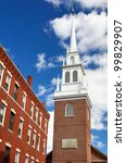 Old North Church in Boston, Massachusetts. The church is famed for Paul Revere's midnight ride of April 18, 1775. - stock photo