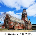 Memorial Hall at Harvard University in Boston, Massachusetts. Memorial Hall was erected in honor of Harvard graduates who fought for the Union in the American Civil War. - stock photo